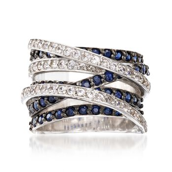 2.70 ct. t.w. Sapphire and .72 ct. t.w. White Topaz Highway Ring in Sterling Silver, , default