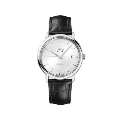 Omega De Ville Prestige Men's 39.5mm Stainless Steel Watch With Black Leather Strap, , default