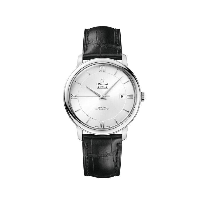 Omega De Ville Prestige Men's 39.5mm Stainless Steel Watch with Black Leather Strap , , default