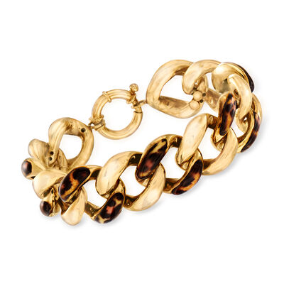 Italian Leopard-Print Enamel Link Bracelet in 14kt Yellow Gold, , default
