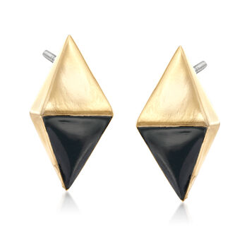 Via Collection Goldtone Kite-Shaped Earrings with Black Enamel