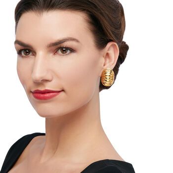Italian 14kt Yellow Gold Ribbed Clip-On Earrings, , default