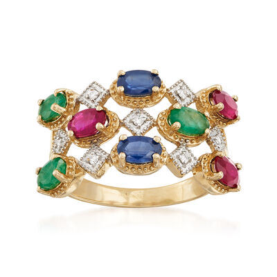 2.10 ct. t.w. Multi-Gemstone Ring in 14kt Yellow Gold with Diamond Accents, , default