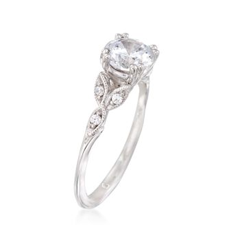 Gabriel Designs 14kt White Gold Engagement Ring Setting with Diamond Accents