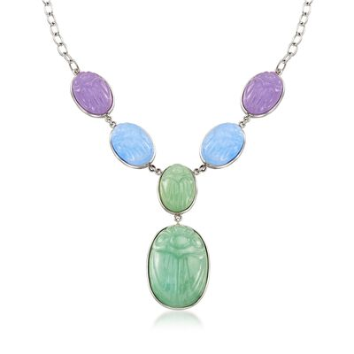 Multicolored Jade Scarab Necklace in Sterling Silver, , default