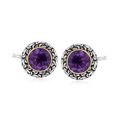 2.70 ct. t.w. Amethyst Bali-Style Earrings in Sterling Silver with 18kt Yellow Gold
