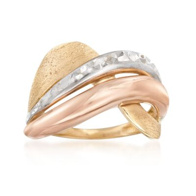 Italian 14kt Tri-Colored Gold Highway Ring, , default
