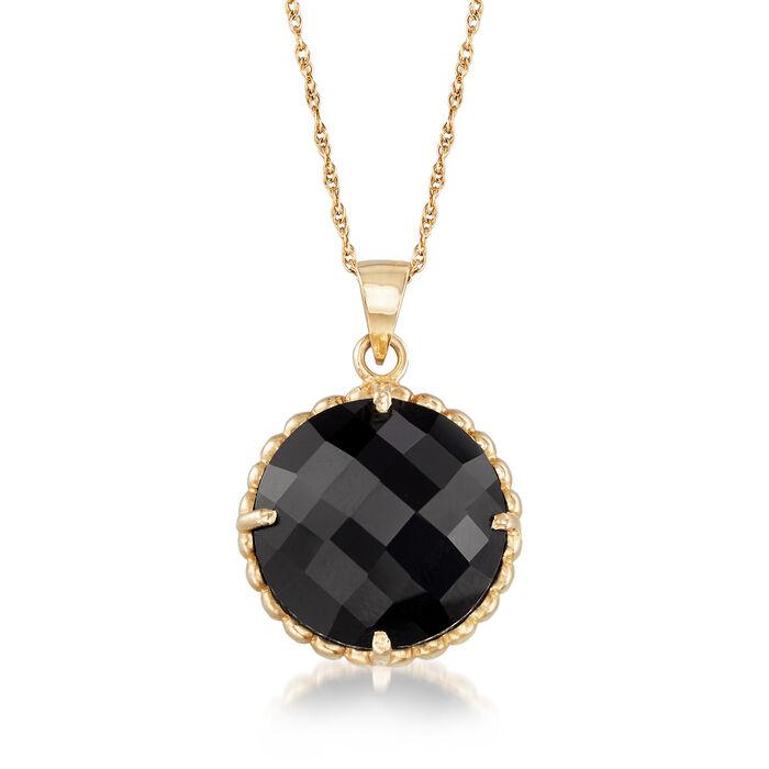 "C. 1990 Vintage Black Onyx Pendant Necklace in 14kt Yellow Gold. 18"", , default"