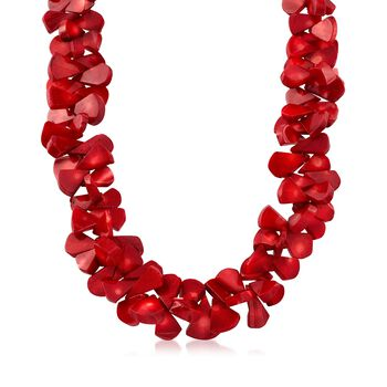 "Coral Bead Cluster Necklace With Sterling Silver. 18"", , default"
