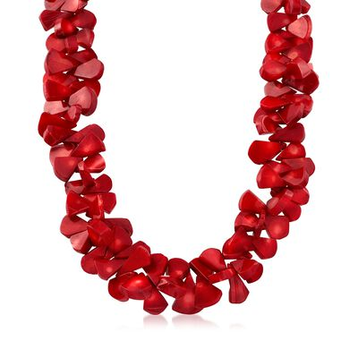 Coral Bead Cluster Necklace with Sterling Silver, , default