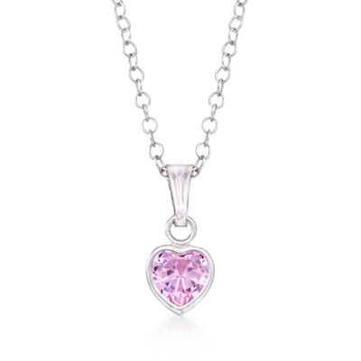 Child's .40 Carat Pink CZ Heart Pendant Necklace in Sterling Silver, , default
