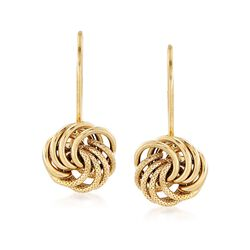 Italian 14kt Yellow Gold Textured and Polished Rosette Drop Earrings, , default