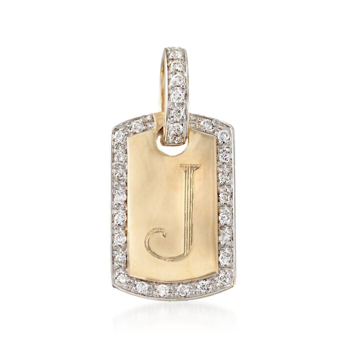 .30 ct. t.w. Diamond Single Initial ID Tag Pendant in 14kt Yellow Gold, , default