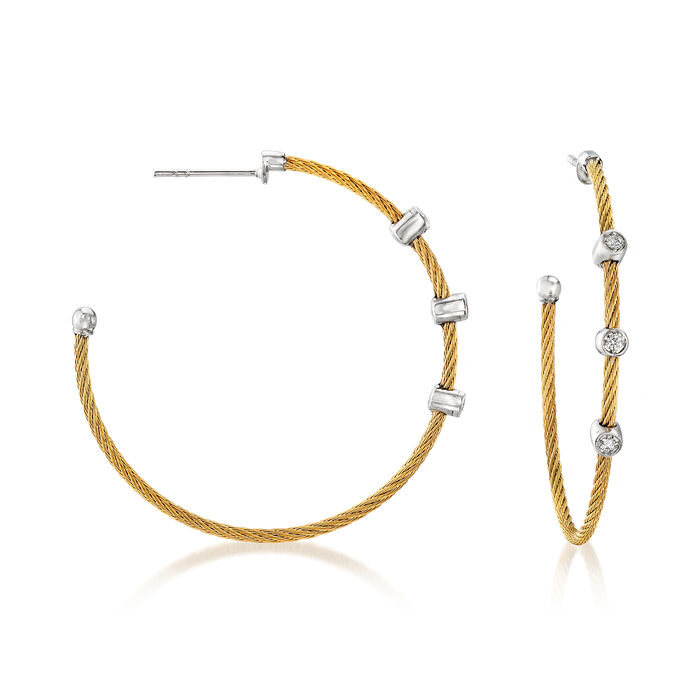 """ALOR """"Classique"""" .12 ct. t.w. Diamond Yellow Stainless Steel Cable Hoop Earrings with 18kt White Gold. 1 5/8"""", , default"""