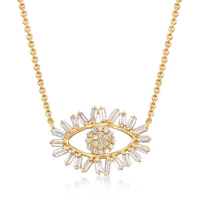 .35 ct. t.w. Baguette and Round Diamond Evil Eye Necklace in 14kt Yellow Gold