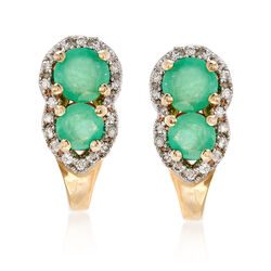 .70 ct. t.w. Emerald and .10 ct. t.w. Diamond Drop Earrings in 14kt Yellow Gold, , default