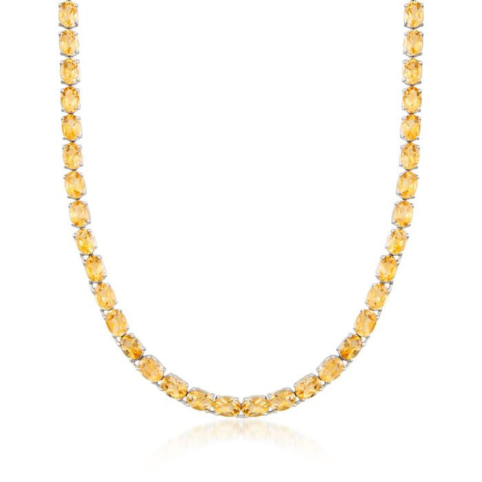 "40.00 ct. t.w. Citrine Tennis Necklace in Sterling Silver. 18"", , default"