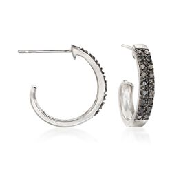 .25 ct. t.w. Black Diamond J-Hoop Earrings in Sterling Silver, , default