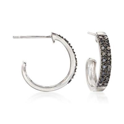 .25 ct. t.w. Black Diamond J-Hoop Earrings in Sterling Silver, , default