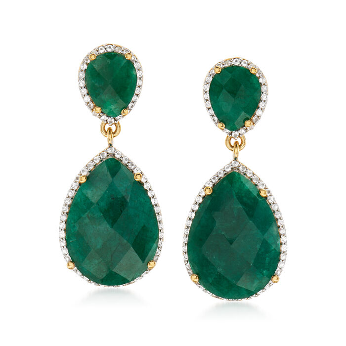 17.80 ct. t.w. Emerald and .60 ct. t.w. White Topaz Drop Earrings in 14kt Gold Over Sterling, , default