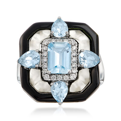 Black Onyx, Rock Crystal, 1.90 ct. t.w. Aquamarine and .15 ct. t.w. Diamond Ring in 14kt White Gold, , default