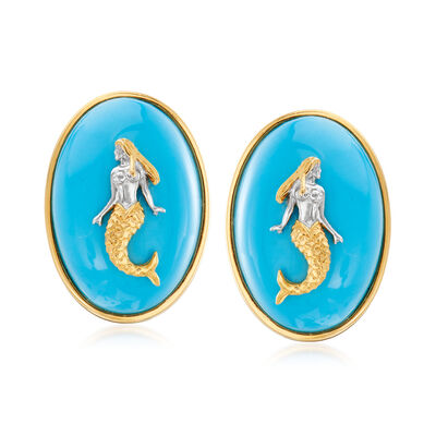 Turquoise Mermaid Earrings in Sterling Silver and 18kt Gold Over Sterling