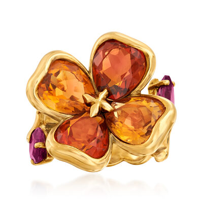 C. 1990 Vintage Chanel 7.00 ct. t.w. Citrine and 1.60 ct. t.w. Rhodolite Garnet Flower Ring in 18kt Yellow Gold, , default