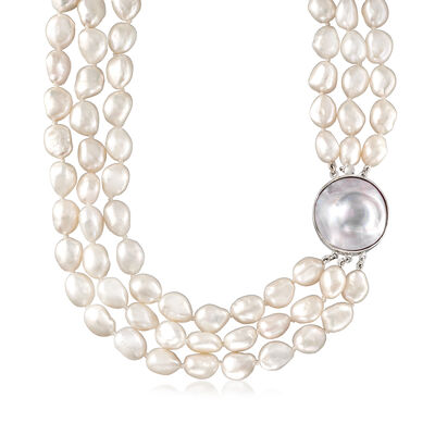 9.5-25mm Cultured Pearl Three-Strand Necklace in Sterling Silver, , default