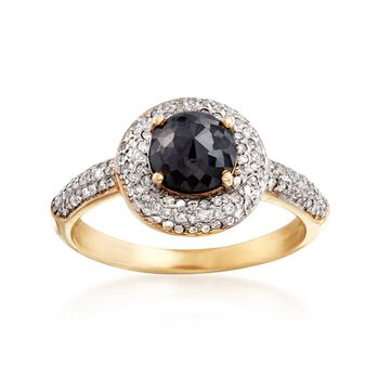 1.25 ct. t.w. Black and White Diamond Halo Ring in 14kt Yellow Gold, , default