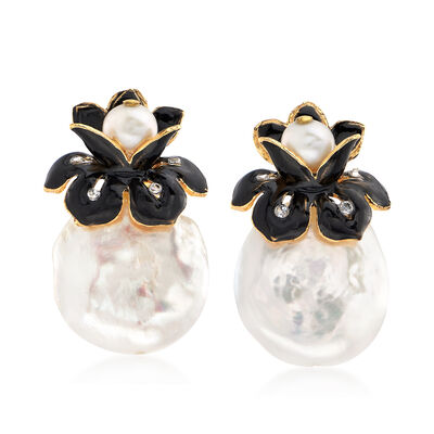 2mm Cultured Pearl Floral Earrings with CZ Accents in 18kt Gold Over Sterling , , default