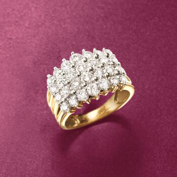 3.00 ct. t.w. Diamond Four-Row Ring in 14kt Yellow Gold. Size 6, , default
