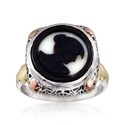 C. 1950 Vintage Black Agate Cameo Ring in 14kt Tri-Colored Gold, , default