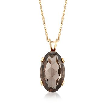 "C. 1990 Vintage 16.70 Carat Smoky Quartz Pendant Necklace in 14kt Yellow Gold. 18"", , default"