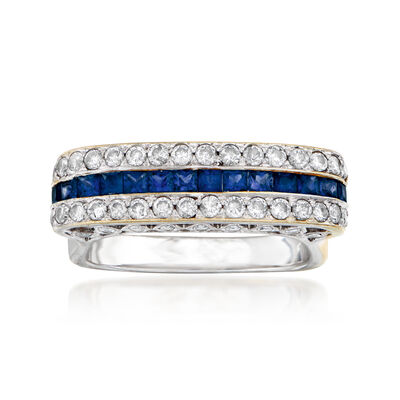 C. 1980 Vintage .80 ct. t.w. Diamond and .75 ct. t.w. Sapphire Ring in 18kt White Gold