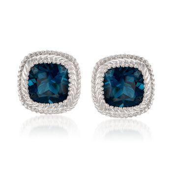 10.00 ct. t.w. London Blue Topaz Earrings in Sterling Silver, , default