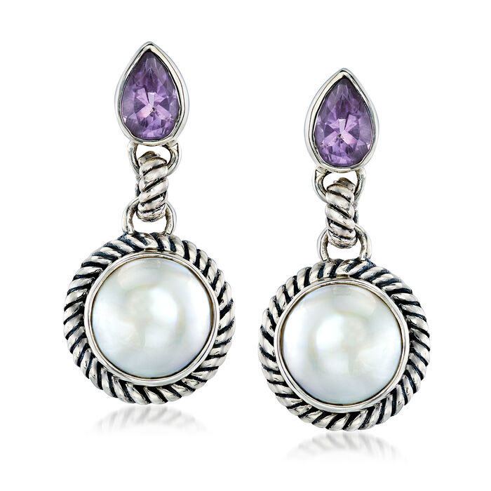 10-11mm Cultured Mabe Pearl and .40 ct. t.w. Amethyst Drop Earrings in Sterling Silver, , default