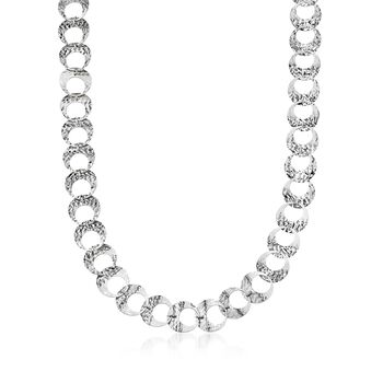 Italian Sterling Silver Circle-Link Necklace, , default