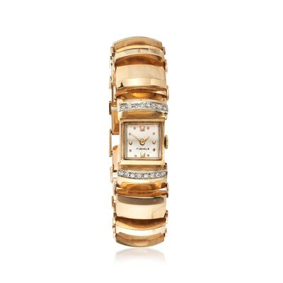 C. 1930 Vintage Women's .35 ct. t.w. Diamond Watch in 14kt Yellow Gold