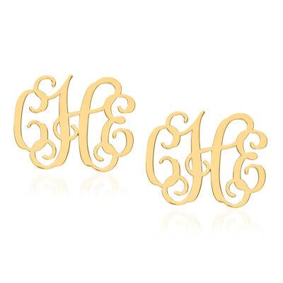 14kt Yellow Gold Medium Laser Polished Monogram Post Earrings, , default