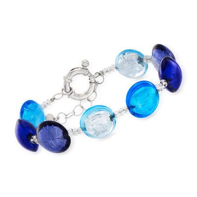Italian Blue Murano Bead Bracelet in Sterling Silver