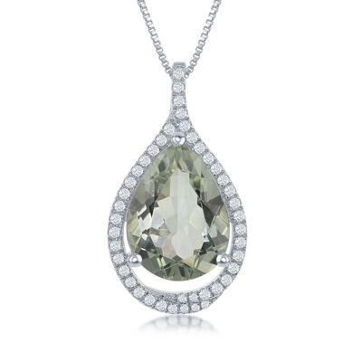 6.75 Carat Green Prasiolite and .44 ct. t.w. White Topaz Pendant Necklace in Sterling Silver