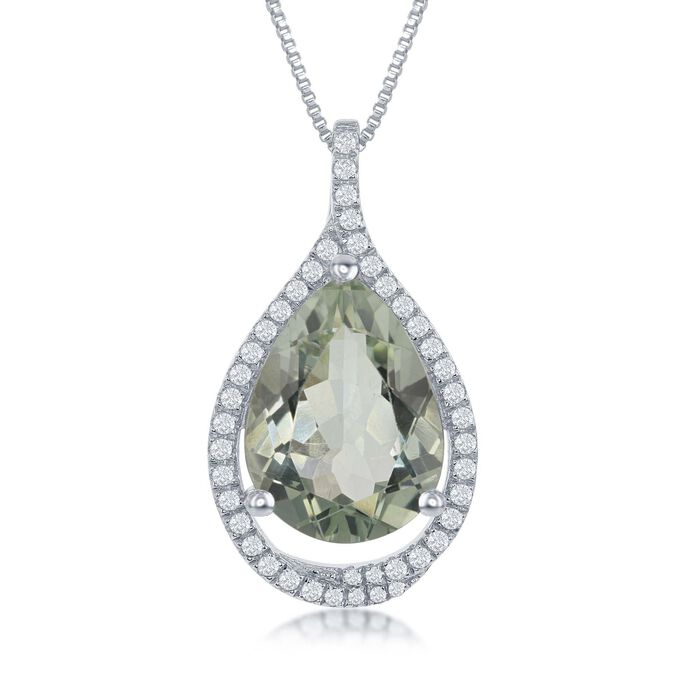 """6.75 Carat Green Prasiolite and .44 ct. t.w. White Topaz Pendant Necklace in Sterling Silver. 17.25"""", , default"""