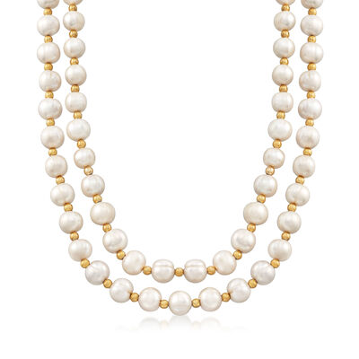 Italian 10-11mm Cultured Pearl Double Strand Necklace With CZs and 18kt Gold Over Sterling, , default