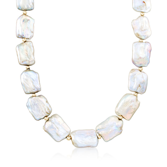"""17-20mm Cultured Pearl Necklace in 14kt Yellow Gold. 18"""", , default"""