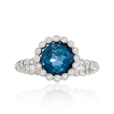 2.20 Carat London Blue Topaz and .23 ct. t.w. Diamond Ring in 14kt White Gold, , default