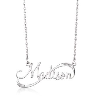"Sterling Silver Swirling Script Name Necklace With Diamond Accents. 18"", , default"