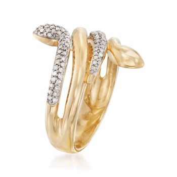 .24 ct. t.w. Pave Diamond Snake Ring in 18kt Gold Over Sterling, , default