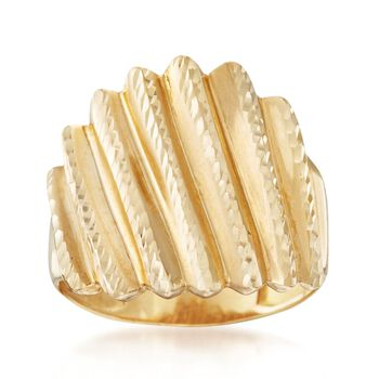 14kt Yellow Gold Diamond-Cut Fluted Ring, , default