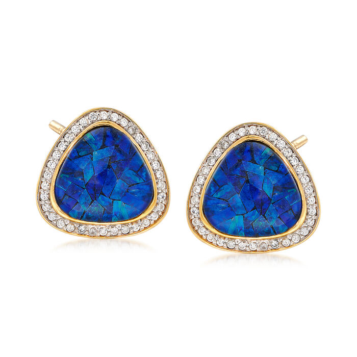 Blue Opal and Zircon Earrings in 18kt Yellow Gold Over Sterling Silver, , default