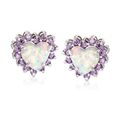 Simulated Opal and Simulated Amethyst Heart Stud Earrings in Sterling Silver, , default
